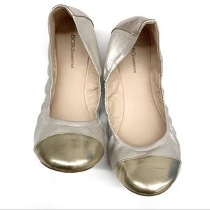 BCBGeneration Silver and Grey Ruched Ballet Flats